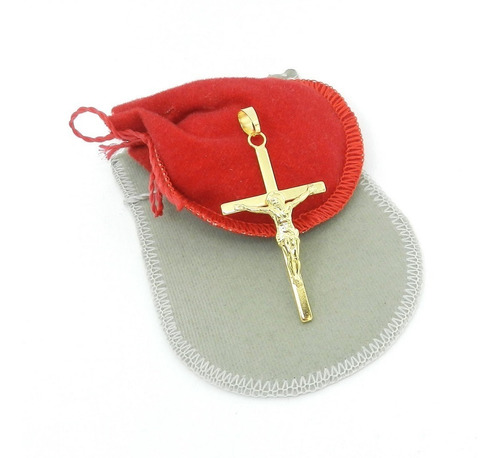 pingente cruz cristo 45mm folheado ouro pi119