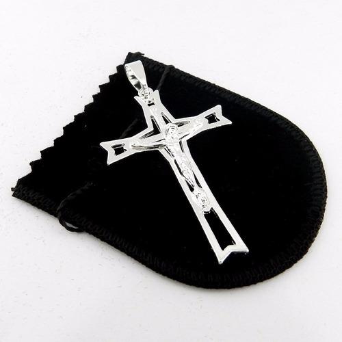 pingente cruz cristo 60mm folheado prata pi146