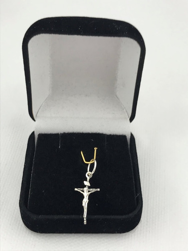 pingente cruz crucifixo jesus com caixa veludo presente