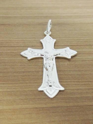 pingente cruz crucifixo masculino folheado prata fr. grátis