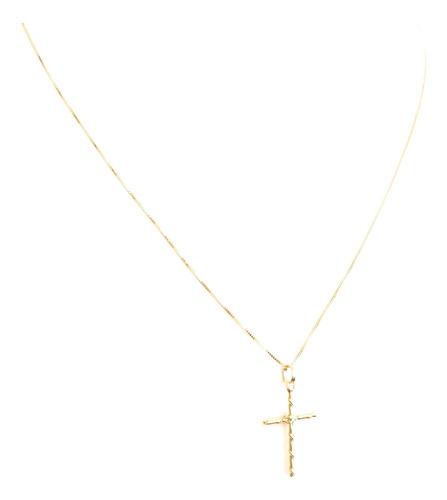 pingente cruz fio torcido em ouro 18k m 21,30mmx13,50mm full