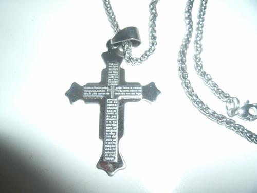 pingente cruz oração pai nosso+ correntinha tudo em aço inox