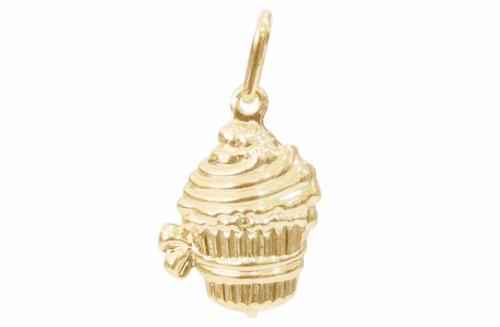 pingente cupcake cup cake folheado a ouro