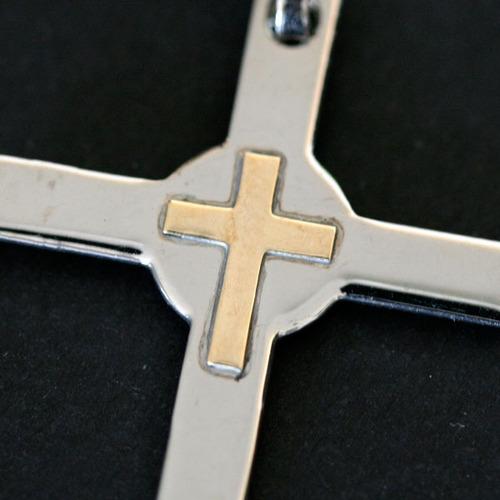 pingente de aço crucifixo centro redondo