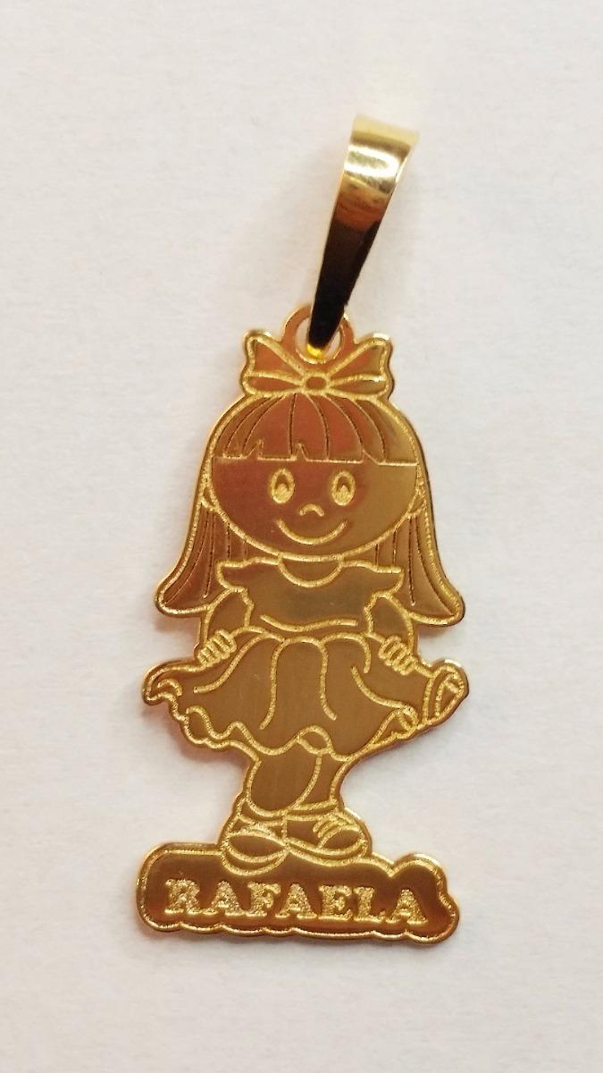 pingente de boneco com nome personalizado banhado a ouro 18k. Carregando  zoom. 34704e6d85