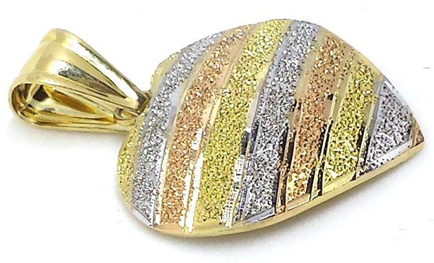 Pingente De Coração De 3 Cores De Ouro Vermelho, Branco E Am - R ... 2e9b0817dd