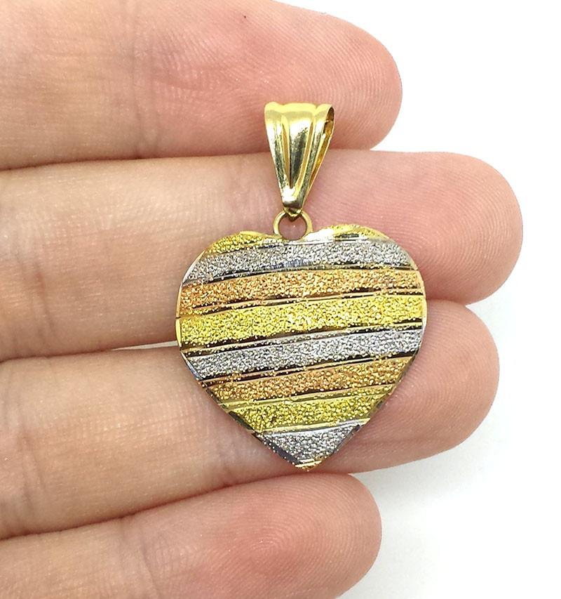 pingente de coração de 3 cores de ouro vermelho, branco e am. Carregando  zoom. 274fa8b7df