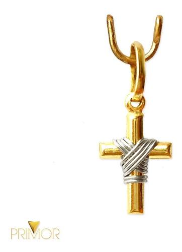 pingente de crucifixo ouro amarelo e branco 3cm maciço pg033