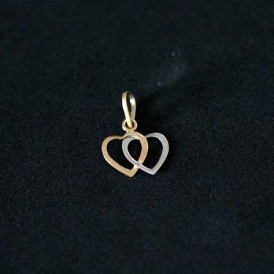 pingente de ouro 18k 0750 coração vazado duplo em ouro amar
