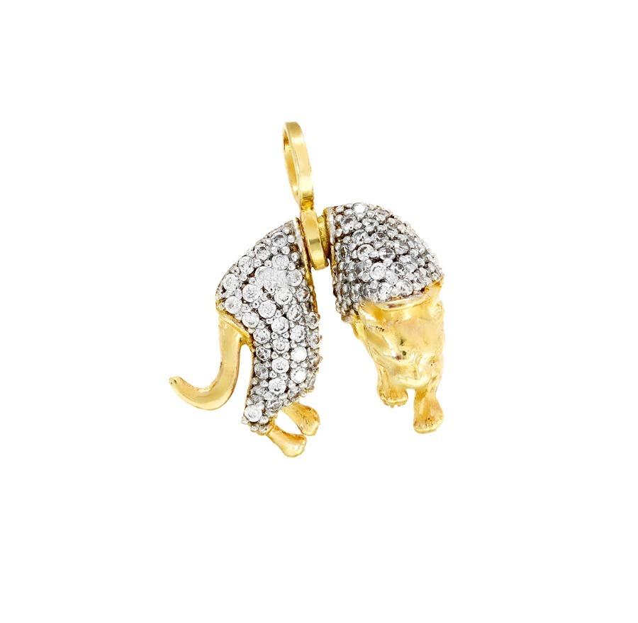 51e68e18f026c pingente de ouro 18k animal onça pantera com pedras brancas. Carregando  zoom.