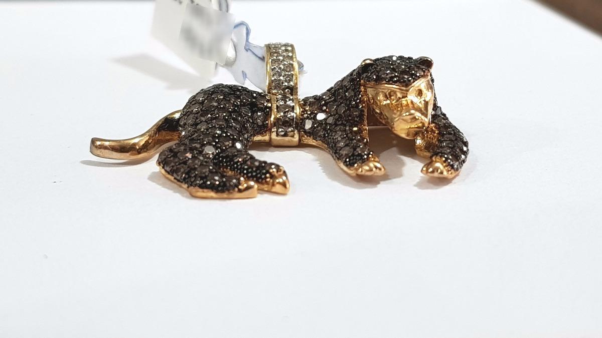 2b3f5cb2d75df pingente de ouro 18k animal onça pantera com pedras zircônia. Carregando  zoom.