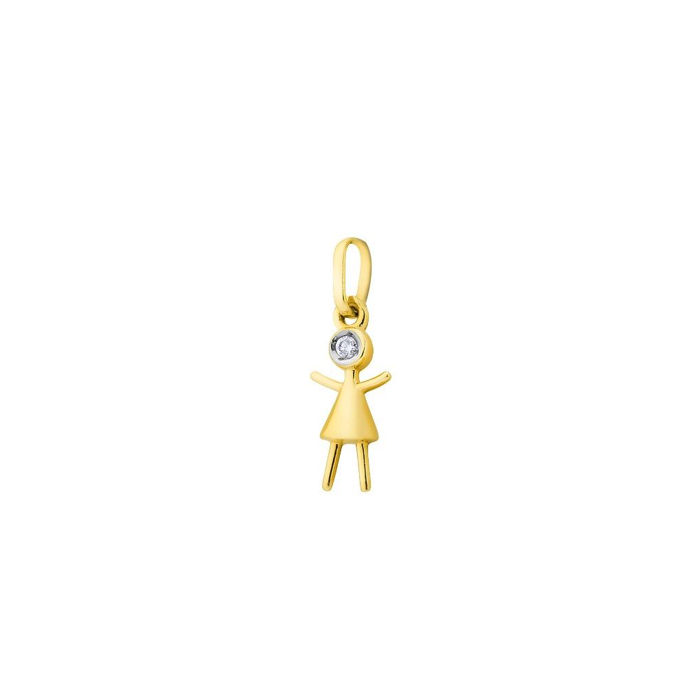 379bd3e0c559f Pingente De Ouro 18k Boneca Com Diamante Pi17437 - R  332,64 em ...