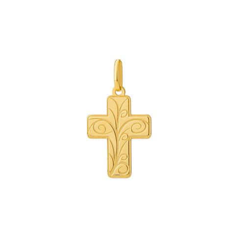 pingente de ouro 18k cruz trabalhada pi18530