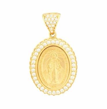 Pingente De Ouro 18k Medalha Nossa Senhora Das Graças - R  992 ... efe5ad1ee0