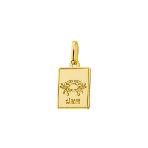 pingente de ouro 18k placa signo câncer pi18524
