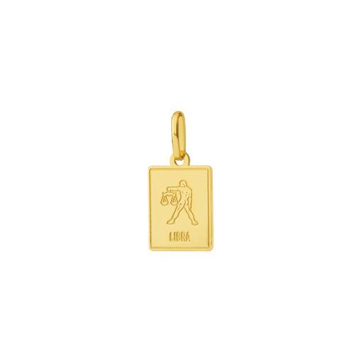 pingente de ouro 18k placa signo libra pi18450
