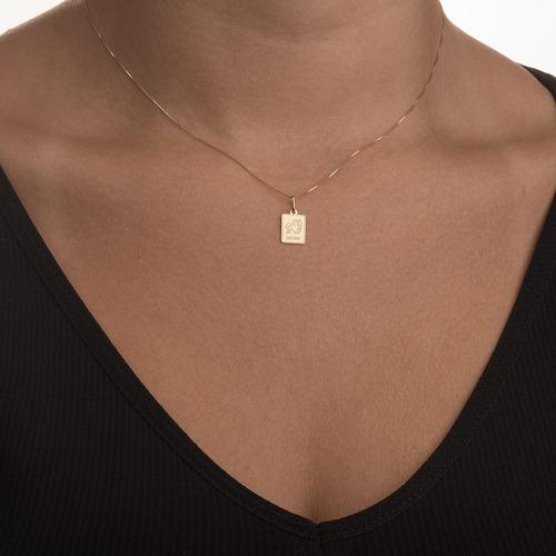 pingente de ouro 18k placa signo sagitário pi18446