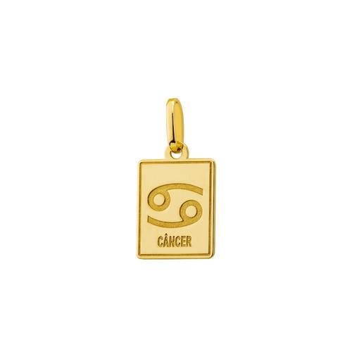 pingente de ouro 18k placa símbolo signo câncer pi18514