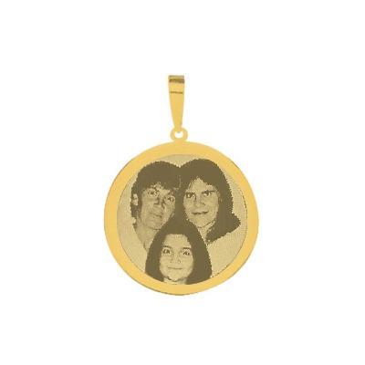 pingente de ouro com foto gravada / fotogravação 16 mm