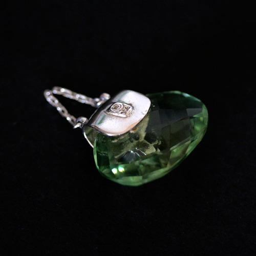 pingente de prata 925 bolsa com pedra natural peridoto com