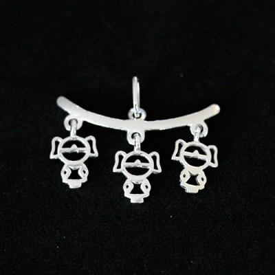 pingente de prata 925 canga com três meninas