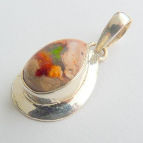 pingente de prata 925 com garantia e opala do méxico  8848