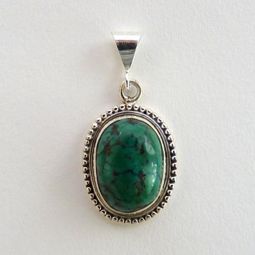 pingente de prata 925 com garantia e turquesa natural 5031
