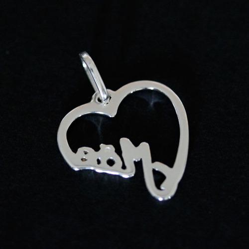 pingente de prata 925 coração mãe