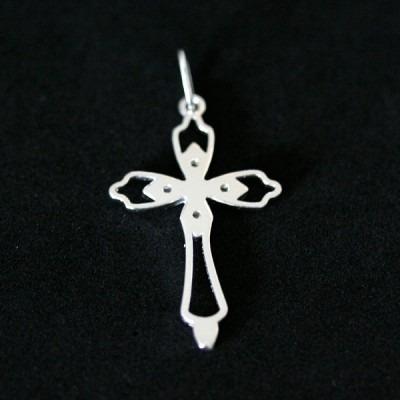 pingente de prata 925 cruz celestial média com pedra de zir