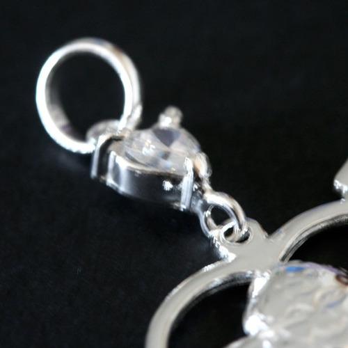 pingente de prata 925 cupido com pedra de zirconia