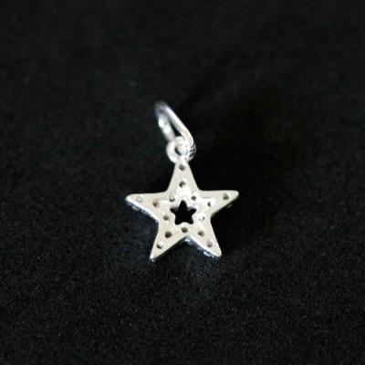 pingente de prata 925 estrela com pedras de zircônia