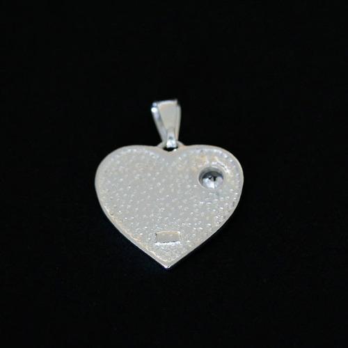 pingente de prata 925 gls coração arco iris com pedra