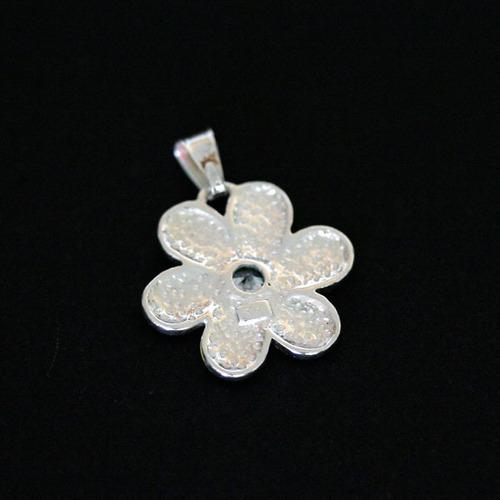 pingente de prata 925 gls flor em arco iris com pedras