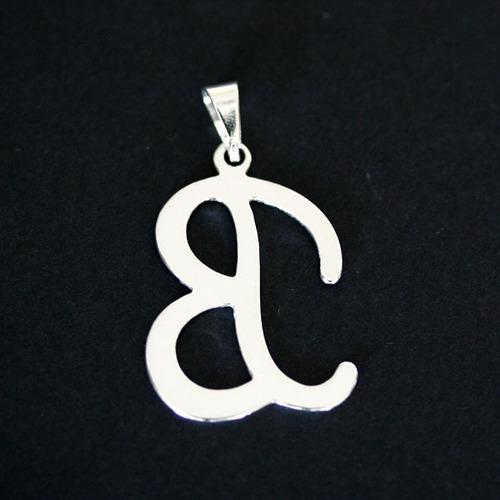 pingente de prata 925 letra b