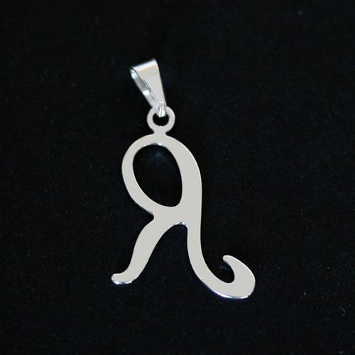 pingente de prata 925 letra r