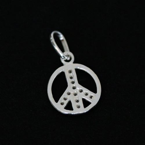 pingente de prata 925 paz com pedra de zircônia
