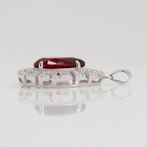 pingente de prata 925 + ródio + zircônia vermelha luxo