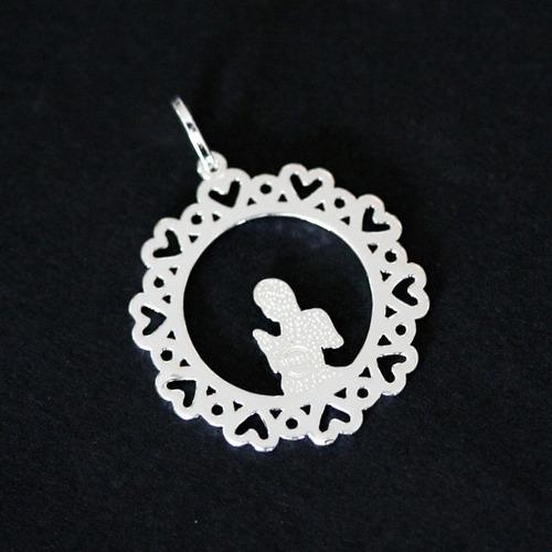 pingente de prata 925 sagrado anjo