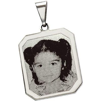 pingente de prata com foto gravada / fotogravação 19mm x 15