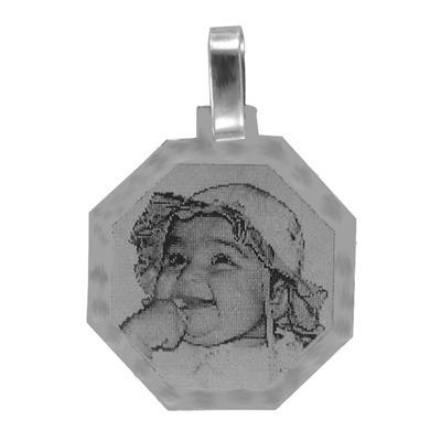 pingente de prata com foto gravada / fotogravação 24.3mm