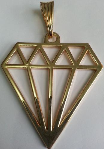 pingente diamante, banhado a ouro, ostentação, funk ref: v9