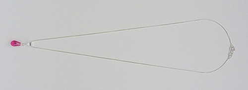 pingente e corrente de prata 925 com zircônia rubi 2627