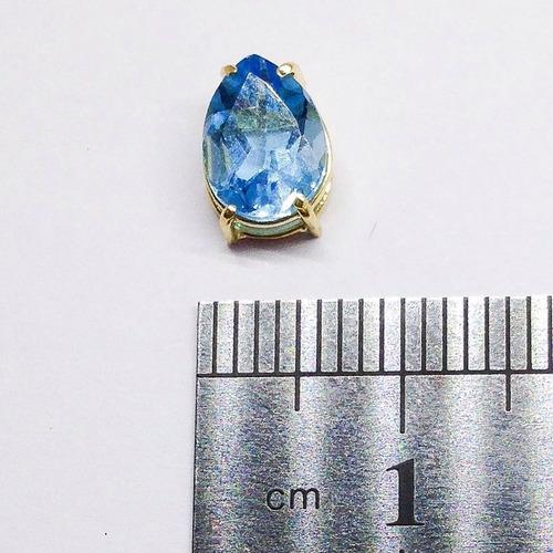 pingente em ouro 18k pedra topazio natural gota 6x8mm
