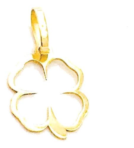 pingente em ouro 18k trevo 4 folhas sorte 10,00mm à vista