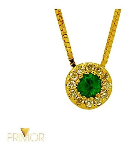 pingente em ouro amarelo com esmeralda e 12 brilhantes pg025