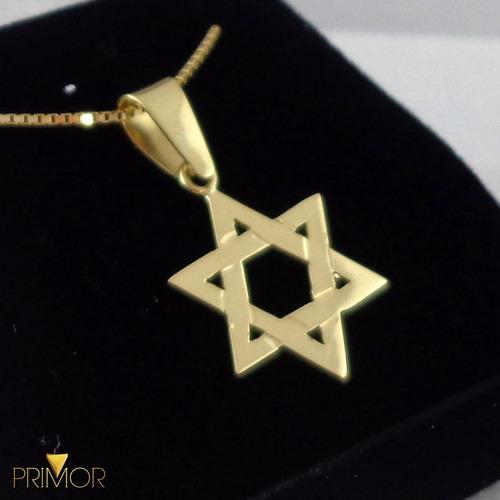 pingente em ouro amarelo estrela de 6 pontas de davi pg046