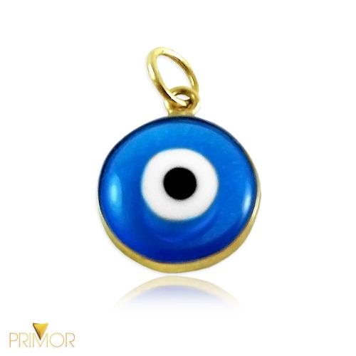 pingente em ouro amarelo olho grego emoldurado em ouro pg030