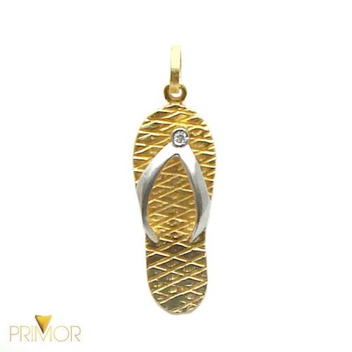pingente em ouro com formato de chinelo havaianas pg012