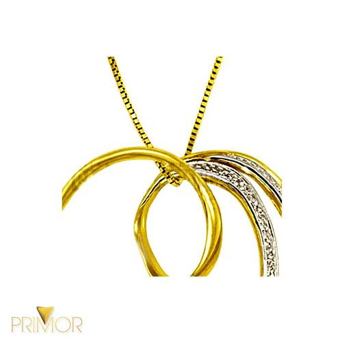 pingente em ouro formato coração vazado com ródio pg016