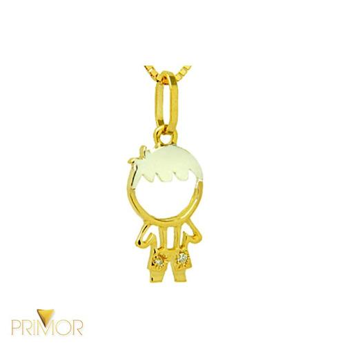 pingente em ouro vazado de boneco menino 2 diamantes pg014